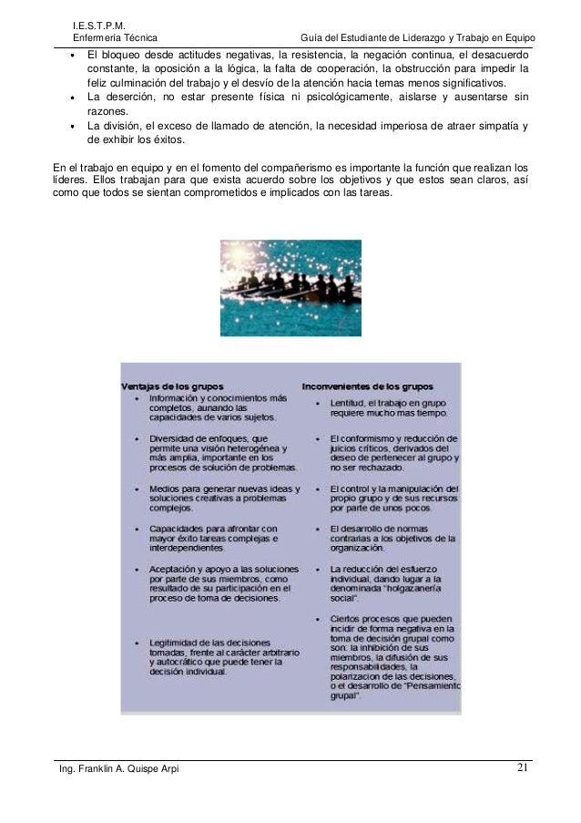 I.E.S.T.P.M. Enfermería Técnica  Guía del Estudiante de Liderazgo y Trabajo en Equipo  El bloqueo desde actitudes negativa...