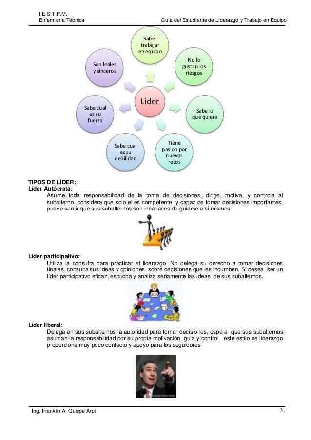 I.E.S.T.P.M. Enfermería Técnica  Guía del Estudiante de Liderazgo y Trabajo en Equipo  Saber trabajar en equipo No le gust...