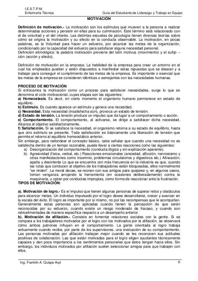 I.E.S.T.P.M. Enfermería Técnica  Guía del Estudiante de Liderazgo y Trabajo en Equipo  MOTIVACIÓN Definición de motivación...