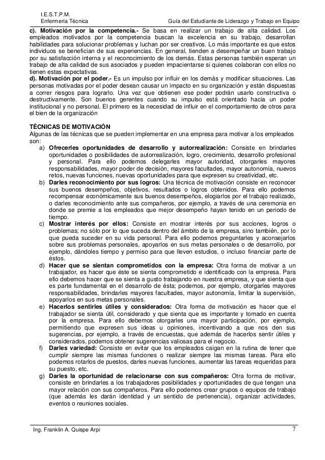 I.E.S.T.P.M. Enfermería Técnica  Guía del Estudiante de Liderazgo y Trabajo en Equipo  c). Motivación por la competencia.-...