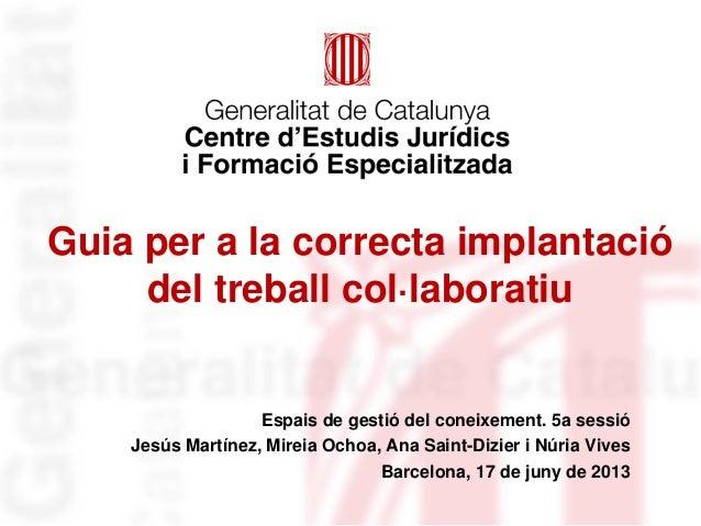 Guia per a la correcta implantació del treball col·laboratiu Espais de gestió del coneixement. 5a sessió Jesús Martínez, M...