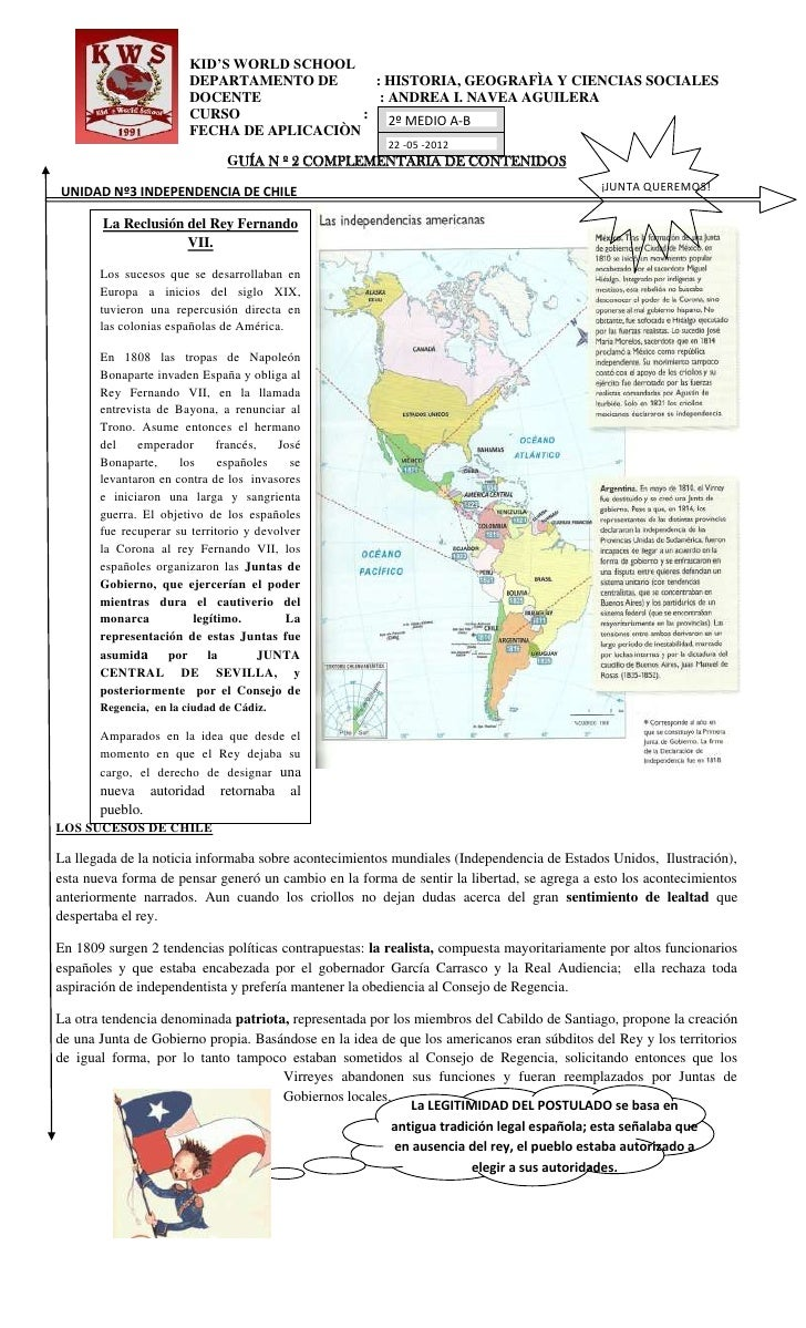 KID'S WORLD SCHOOL                        DEPARTAMENTO DE      : HISTORIA, GEOGRAFÌA Y CIENCIAS SOCIALES                  ...