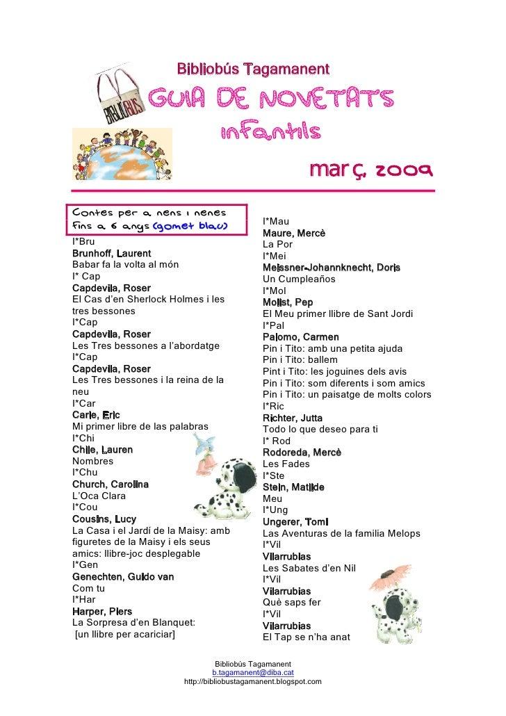 Bibliobús Tagamanent                                                                març, 2009 Contes per a nens i nenes  ...