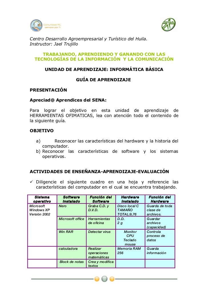 Centro Desarrollo Agroempresarial y Turístico del Huila.Instructor: Jael Trujillo     TRABAJANDO, APRENDIENDO Y GANANDO CO...