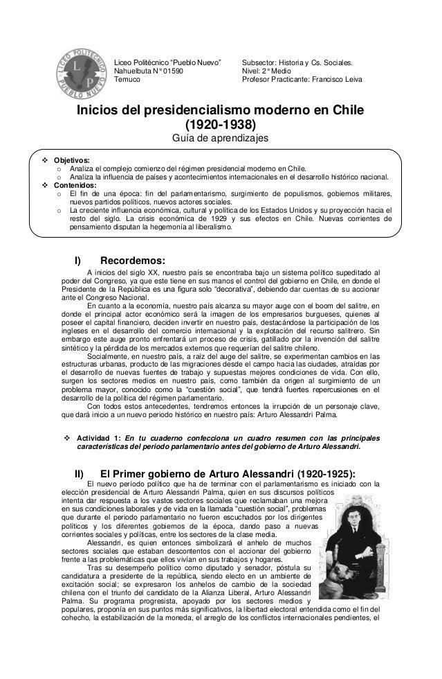 """Liceo Politécnico """"Pueblo Nuevo""""         Subsector: Historia y Cs. Sociales.                      Nahuelbuta N° 01590     ..."""