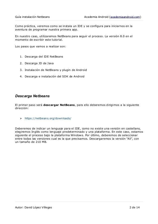 Guia instalación NetBeans como entorno de desarrollo para Android:  Slide 2