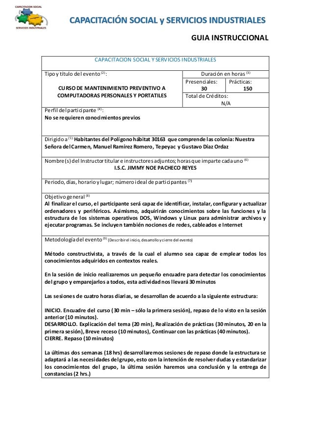 GUIA INSTRUCCIONAL CAPACITACION SOCIAL Y SERVICIOS INDUSTRIALES Tipoy título del evento (2) : CURSO DE MANTENIMIENTO PREVE...