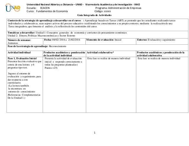 1 Universidad Nacional Abierta y a Distancia – UNAD - Vicerrectoría Académica y de Investigación - VIACI Escuela: ECACEN P...
