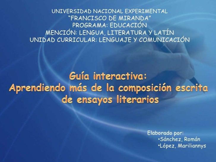 """UNIVERSIDAD NACIONAL EXPERIMENTAL """" FRANCISCO DE MIRANDA"""" PROGRAMA: EDUCACIÓN MENCIÓN: LENGUA, LITERATURA Y LATÍN UNIDAD C..."""
