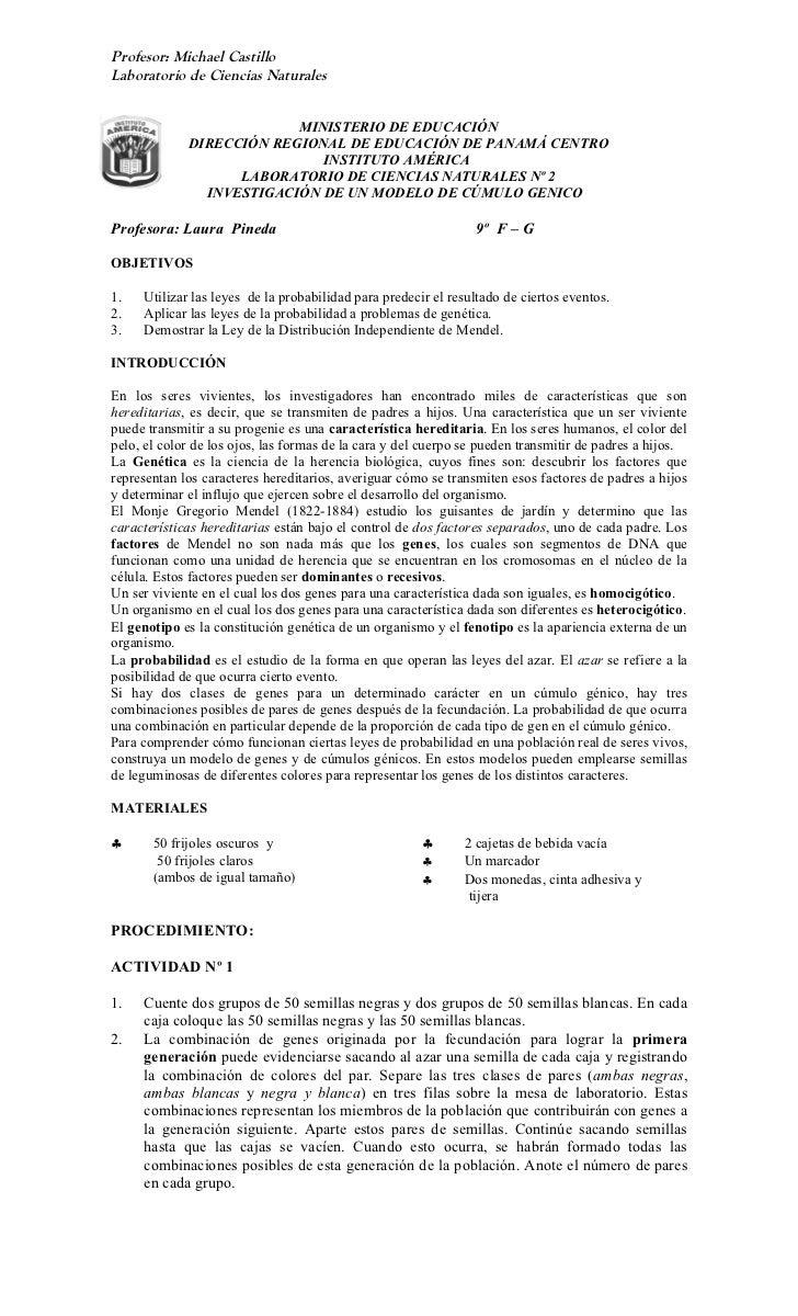 Profesor: Michael CastilloLaboratorio de Ciencias Naturales                          MINISTERIO DE EDUCACIÓN             D...