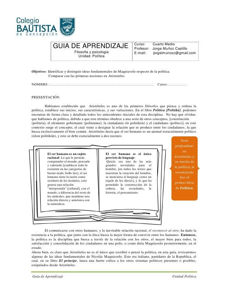 Curso:    Cuarto Medio               GUIA DE APRENDIZAJE                                      Profesor: Jorge Muñoz Castil...