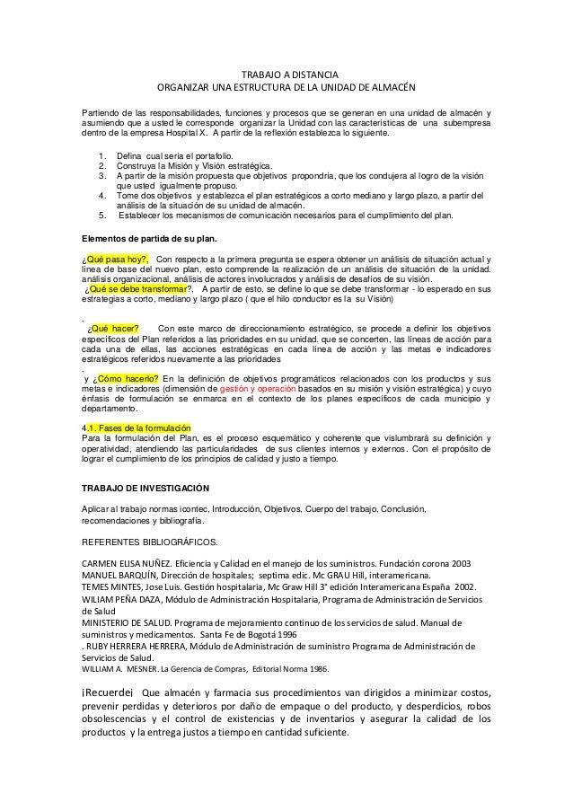TRABAJO A DISTANCIA                   ORGANIZAR UNA ESTRUCTURA DE LA UNIDAD DE ALMACÉNPartiendo de las responsabilidades, ...