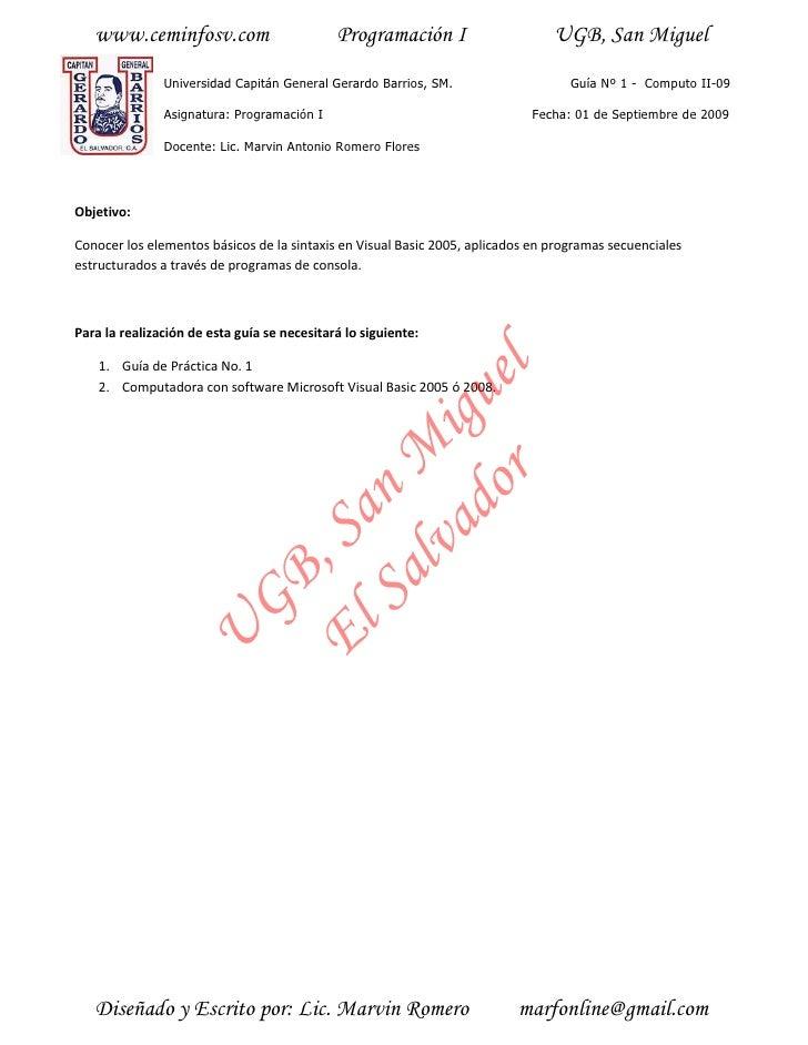 www.ceminfosv.com                         Programación I                     UGB, San Miguel                Universidad Ca...