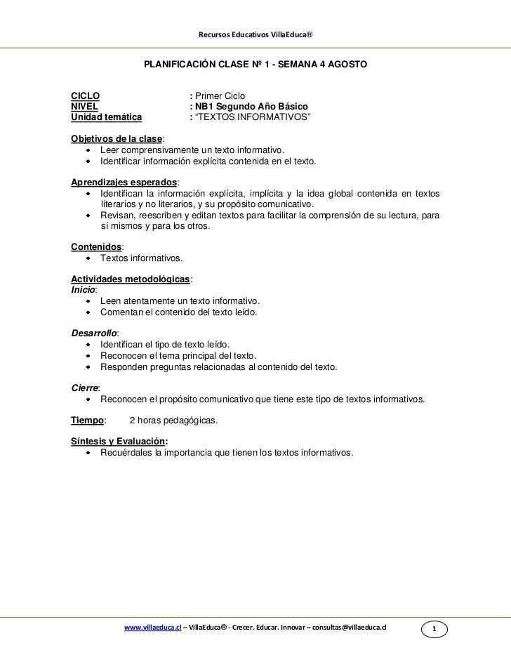 Recursos Educativos VillaEduca®                     PLANIFICACIÓN CLASE Nº 1 - SEMANA 4 AGOSTOCICLO                       ...