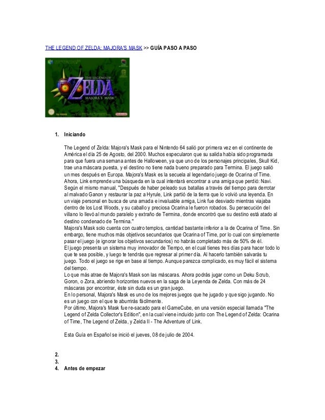 THE LEGEND OF ZELDA: MAJORA'S MASK >> GUÍA PASO A PASO  1. Iniciando The Legend of Zelda: Majora's Mask para el Nintendo 6...