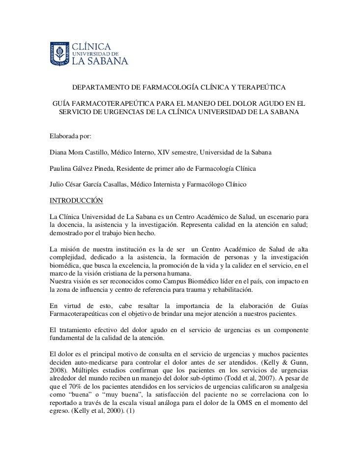 DEPARTAMENTO DE FARMACOLOGÍA CLÍNICA Y TERAPEÚTICA GUÍA FARMACOTERAPEÚTICA PARA EL MANEJO DEL DOLOR AGUDO EN EL  SERVICIO ...