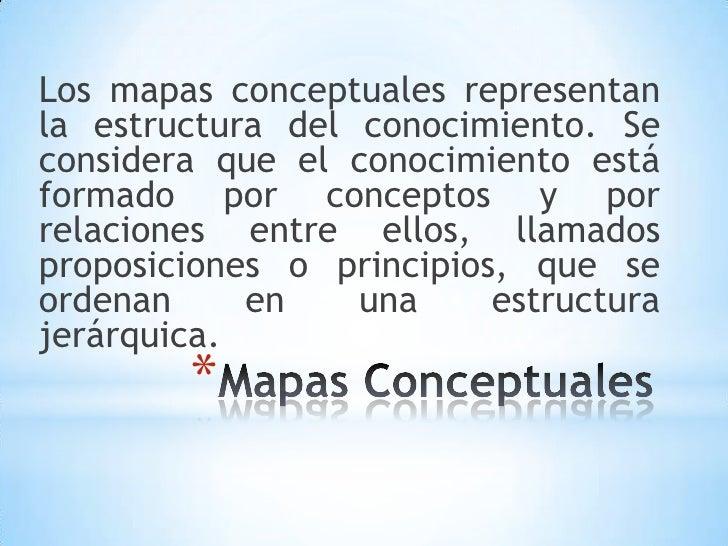 Los mapas conceptuales representanla estructura del conocimiento. Seconsidera que el conocimiento estáformado por concepto...