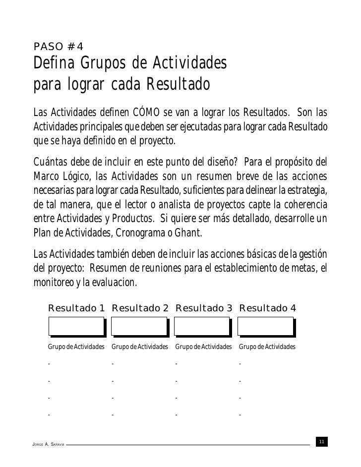 PASO # 4Defina Grupos de Actividadespara lograr cada ResultadoLas Actividades definen CÓMO se van a lograr los Resultados....