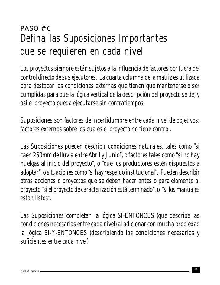 PASO # 6Defina las Suposiciones Importantesque se requieren en cada nivelLos proyectos siempre están sujetos a la influenc...
