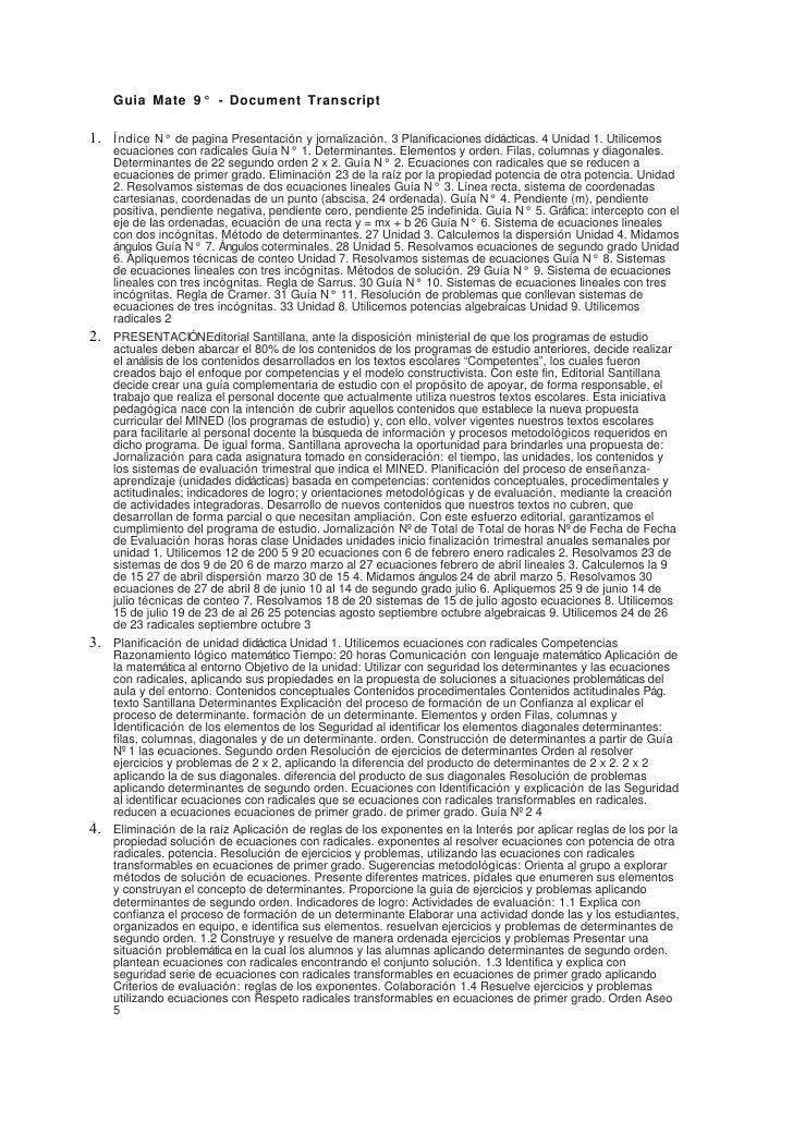 Guia Mate 9 ° - Document Transcript  1.   Í ndice N° de pagina Presentación y jornalización. 3 Planificaciones didácticas....