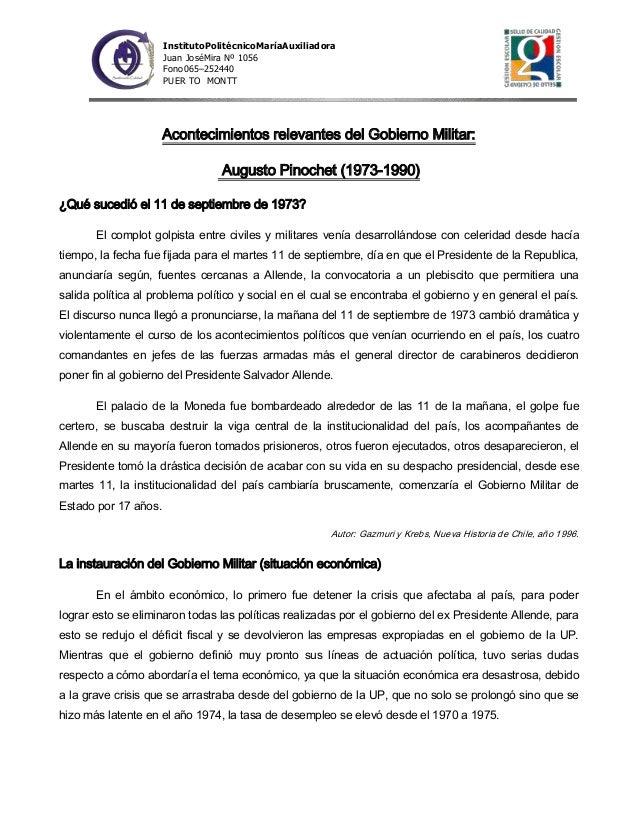 InstitutoPolitécnicoMaríaAuxiliadora Juan JoséMira Nº 1056 Fono065–252440 PUER TO MONTT  Acontecimientos relevantes del Go...