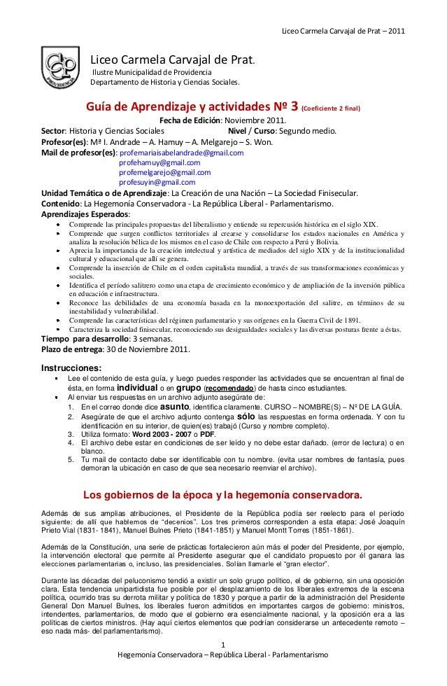 Liceo Carmela Carvajal de Prat – 2011               Liceo Carmela Carvajal de Prat.               Ilustre Municipalidad de...