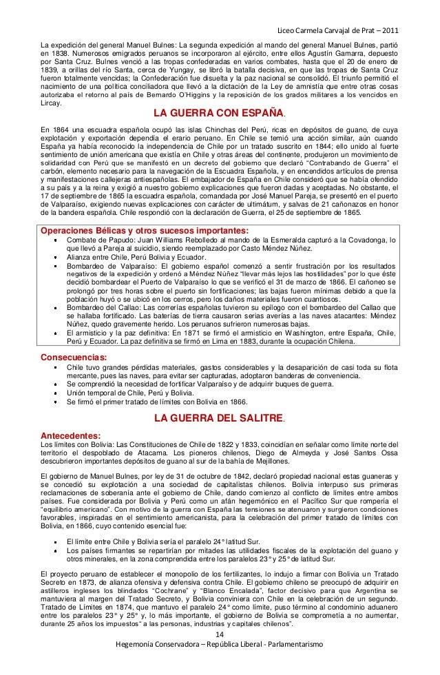 Liceo Carmela Carvajal de Prat – 2011La expedición del general Manuel Bulnes: La segunda expedición al mando del general M...