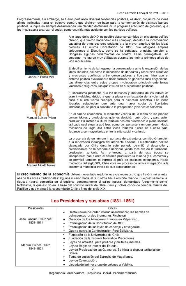 Liceo Carmela Carvajal de Prat – 2011Progresivamente, sin embargo, se fueron perfilando diversas tendencias políticas, es ...