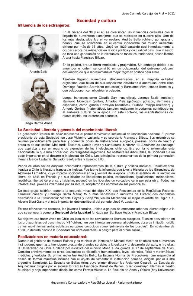 Liceo Carmela Carvajal de Prat – 2011                                           Sociedad y culturaInfluencia de los extran...