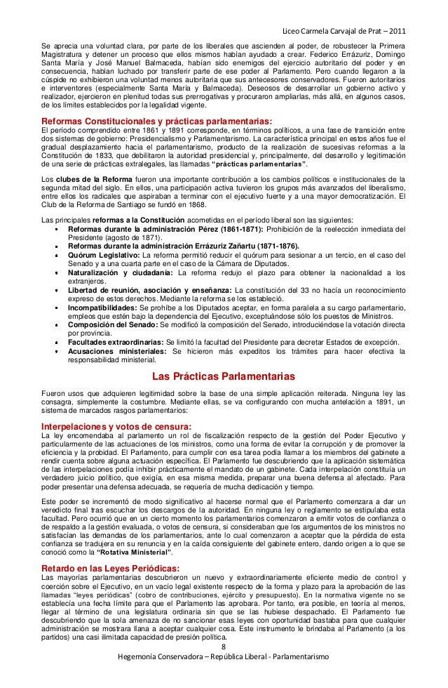 Liceo Carmela Carvajal de Prat – 2011Se aprecia una voluntad clara, por parte de los liberales que ascienden al poder, de ...