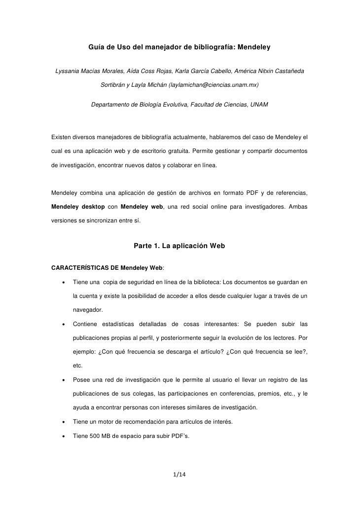 Guía de Uso del manejador de bibliografía: Mendeley    Lyssania Macías Morales, Aída Coss Rojas, Karla García Cabello, Amé...