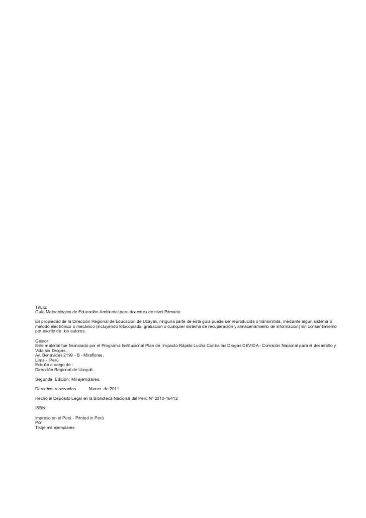 Guía Metodológica Primaria-2011 Slide 2