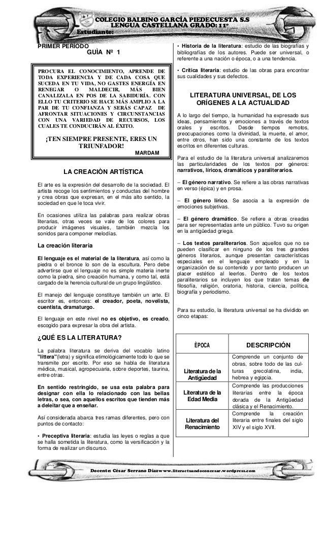 COLEGIO BALBINO GARCÍA PIEDECUESTA S.S                           LENGUA CASTELLANA GRADO: 11º __                 Estudiant...