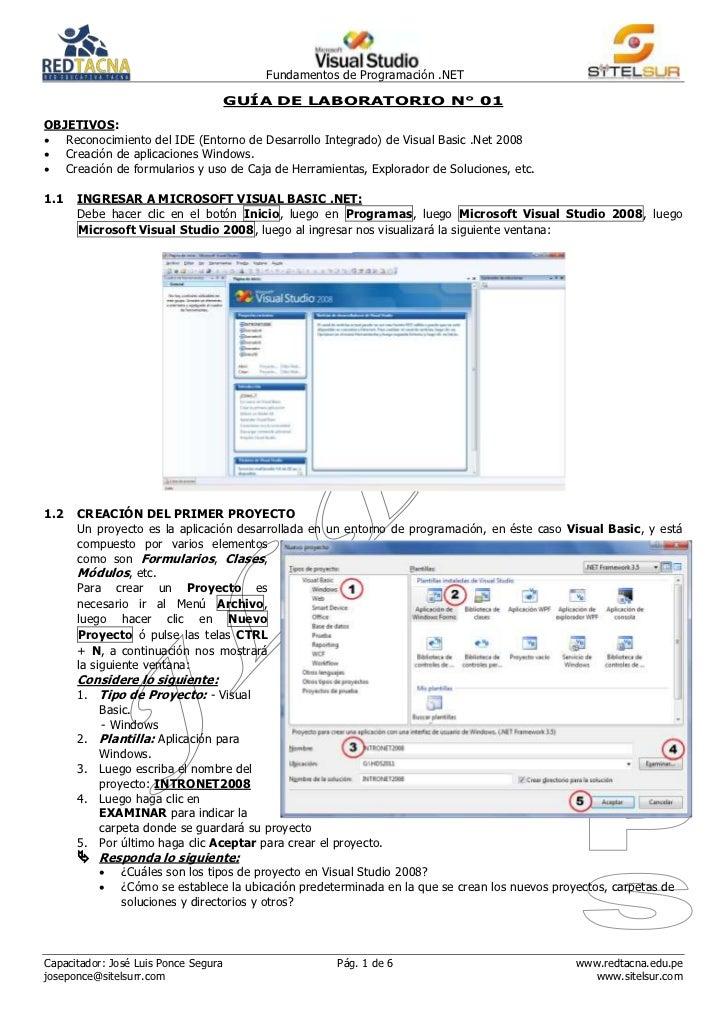 Fundamentos de Programación .NET                                      GUÍA DE LABORATORIO N° 01OBJETIVOS: Reconocimiento ...