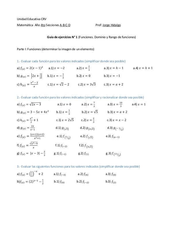Guia n°1 (funciones, dominio y rango)