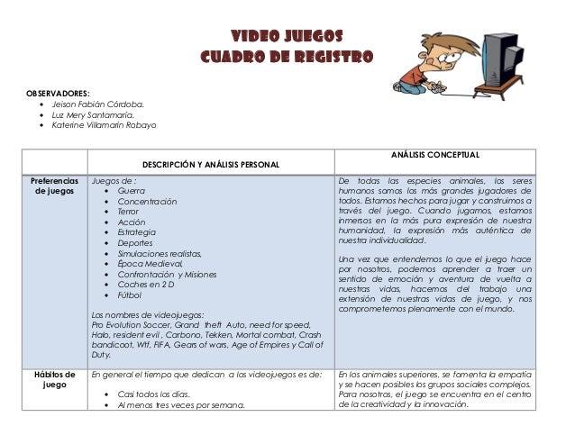 Video juegos  Cuadro de Registro  OBSERVADORES:  · Jeison Fabián Córdoba.  · Luz Mery Santamaría.  · Katerine Villamarín R...