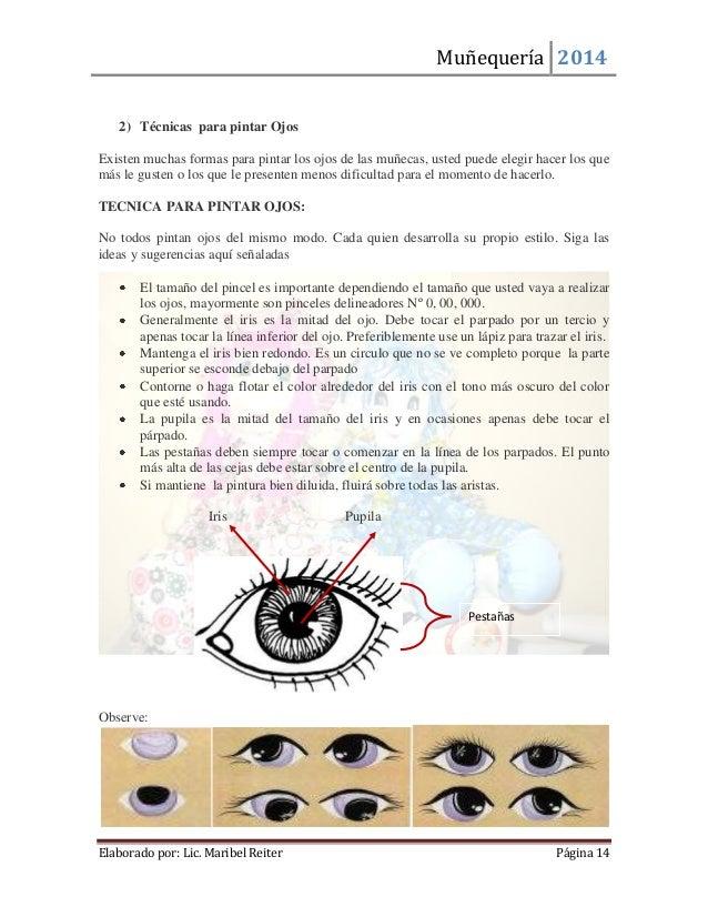 Muñequería 2014  Elaborado por: Lic. Maribel Reiter Página 14  2) Técnicas para pintar Ojos  Existen muchas formas para pi...
