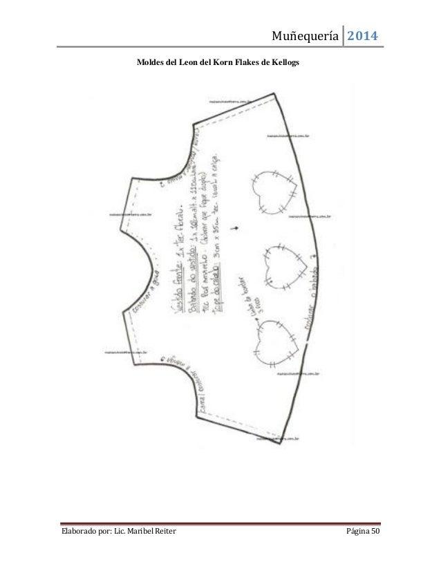 Muñequería 2014  Elaborado por: Lic. Maribel Reiter Página 50  Moldes del Leon del Korn Flakes de Kellogs