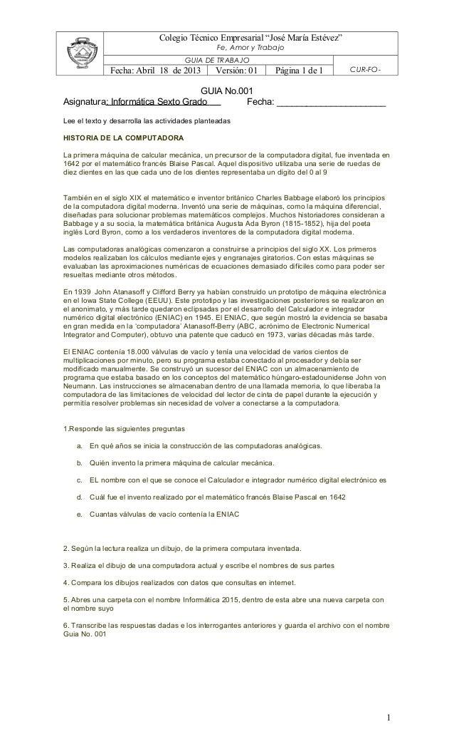 """Colegio Técnico Empresarial """"José María Estévez"""" Fe, Amor y Trabajo GUIA DE TRABAJO CUR-FO-Fecha: Abril 18 de 2013 Versión..."""