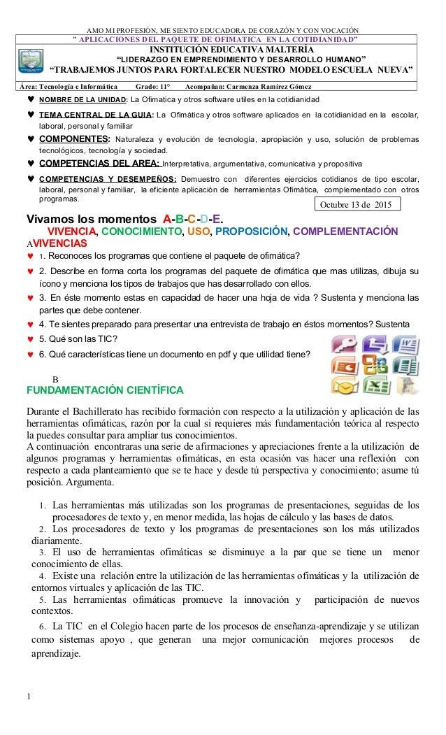 """AMO MI PROFESIÓN, ME SIENTO EDUCADORA DE CORAZÓN Y CON VOCACIÓN """" APLICACIONES DEL PAQUETE DE OFIMATICA EN LA COTIDIANIDAD..."""