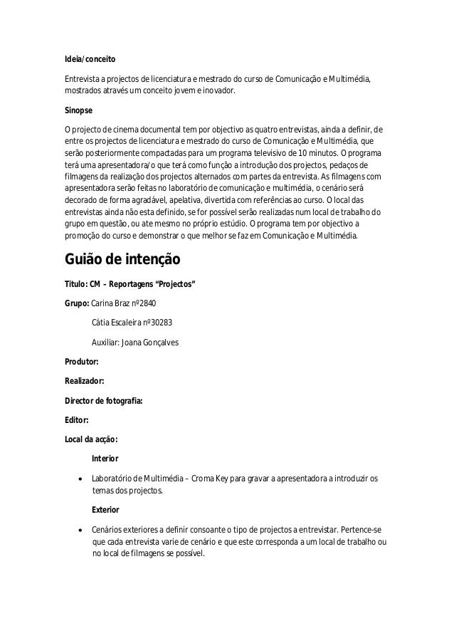 Ideia/conceito Entrevista a projectos de licenciatura e mestrado do curso de Comunicação e Multimédia, mostrados através u...