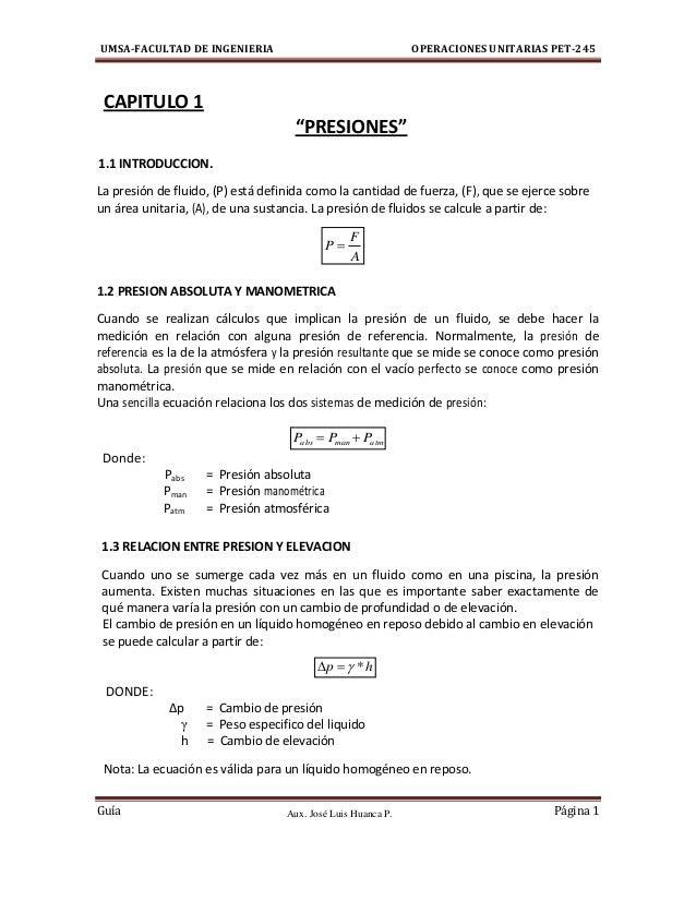 Aux. José Luis Huanca P. UMSA-FACULTAD DE INGENIERIA OPERACIONES UNITARIAS PET-245 Guía Página 1 A F P  atmmanabs PPP  ...