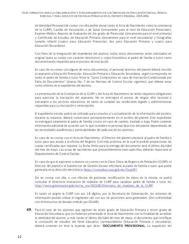 Guia Operativa Para Escuelas Públicas 2015 2016