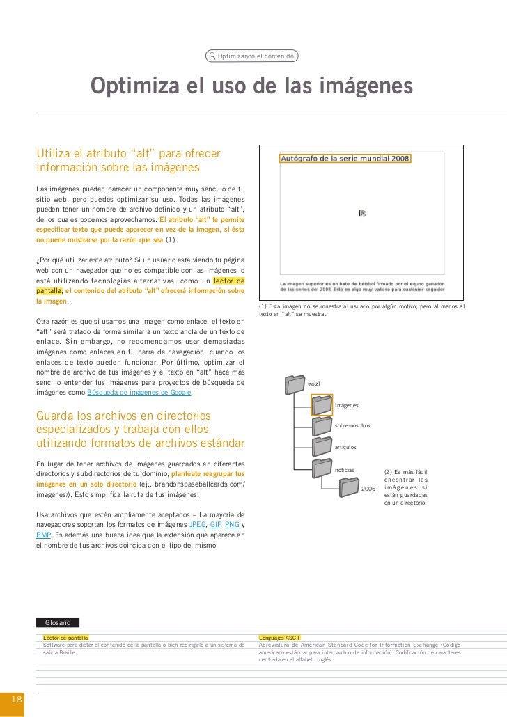 """Optimizando el contenido                          Optimiza el uso de las imágenes     Utiliza el atributo """"alt"""" para ofrec..."""