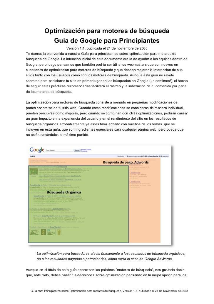 Optimización para motores de búsqueda              Guía de Google para Principiantes                           Versión 1.1...