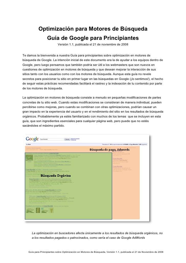 Optimización para Motores de Búsqueda                     Guía de Google para Principiantes                              V...