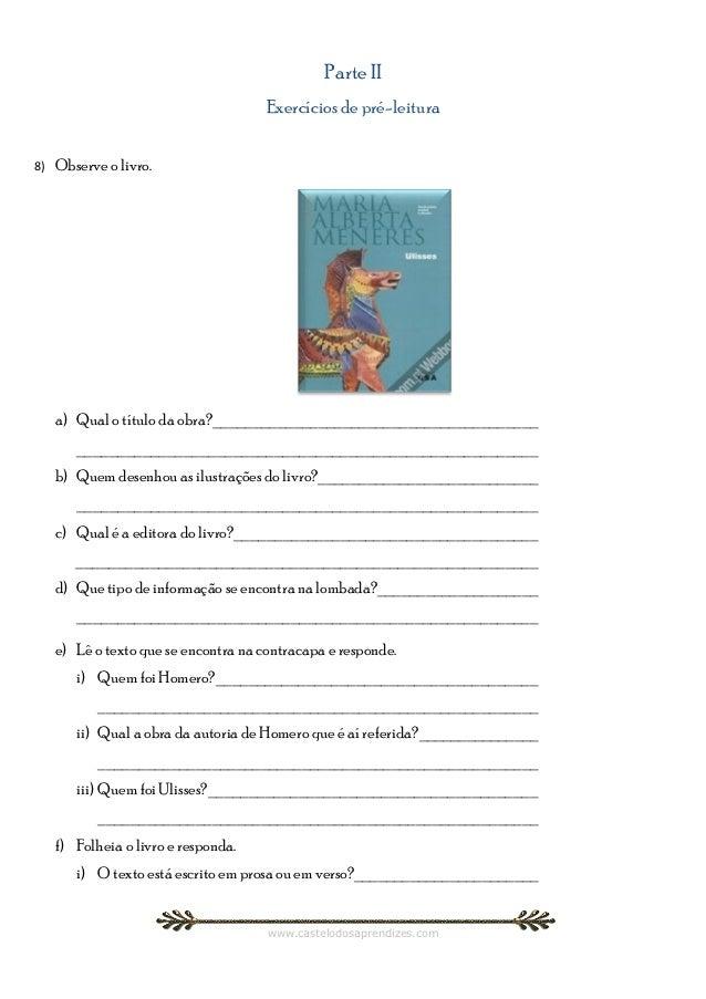 Parte II                                       Exercícios de pré-leitura8)   Observe o livro.     a) Qual o título da obra...