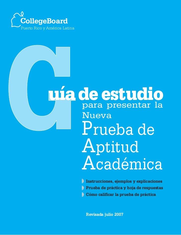 CollegeBoardPuerto Rico y América Latina              uía de estudio                  para presentar la                   ...