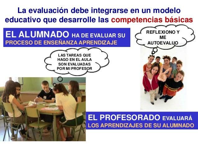 La evaluación debe integrarse en un modeloeducativo que desarrolle las competencias básicas                               ...