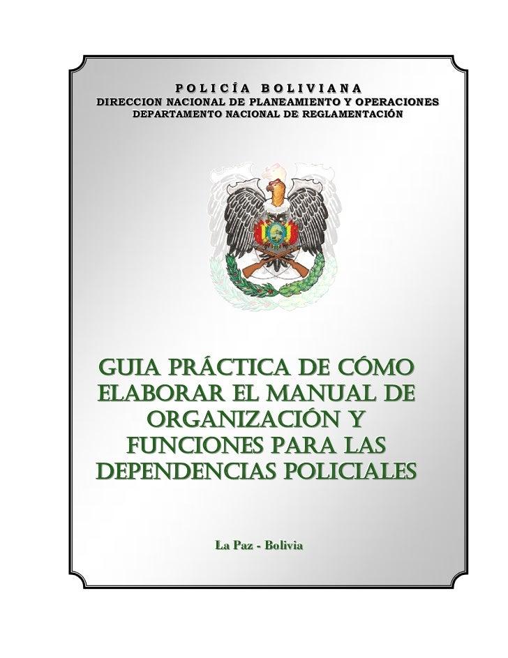 POLICÍA BOLIVIANA            POLICÍA BOLIVIANA DIRECCION NACIONAL DE PLANEAMIENTO Y OPERACIONES DIRECCION NACIONAL DE PLAN...